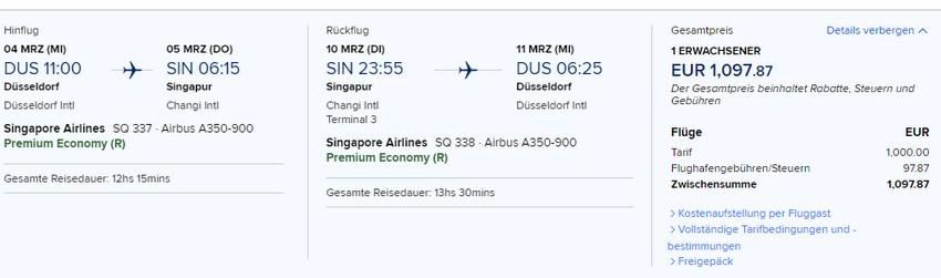 Preisbeispiel von Düsseldorf nach Singapore in der Singapore Airlines Premium-Economy-Class