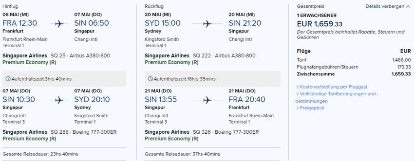 Preisbeispiel von Frankfurt nach Sydney in der Singapore Airlines Premium-Economy-Class