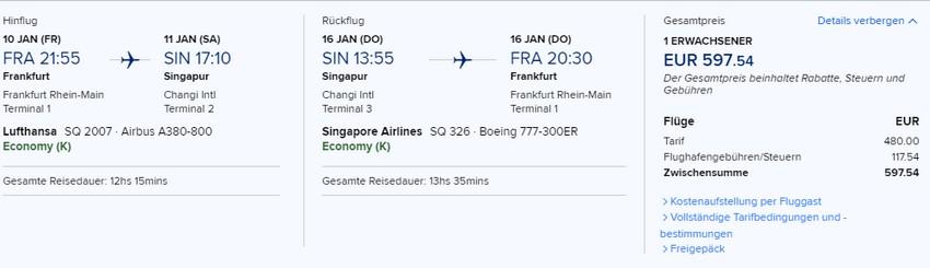 Preisbeispiel von Frankfurt nach Singapore in der Singapore Airlines Economy-Class