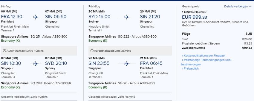 Preisbeispiel von Frankfurt nach Sydney in der Singapore Airlines Economy-Class