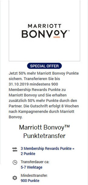 50% Bonus beim Transfer von Membership Rewards zu Marriott Bonvoy bis 31.10.2019