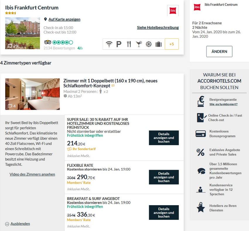 Accor Super Sale Raten im IBIS Frankfurt Zentrum