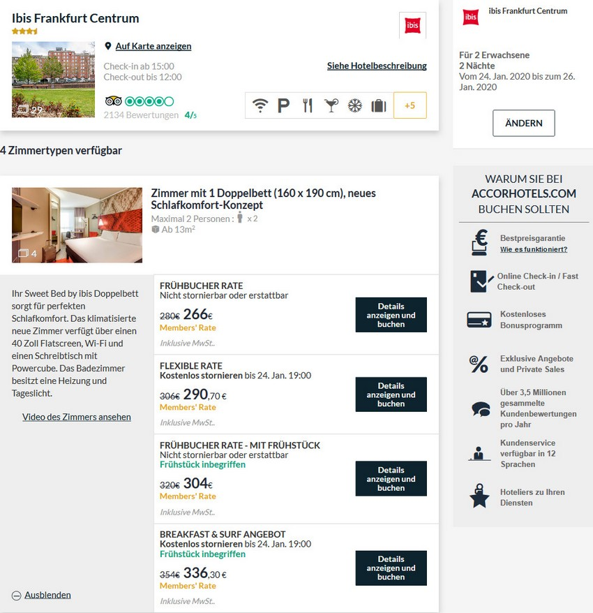 Reguläre Raten im IBIS Frankfurt Zentrum