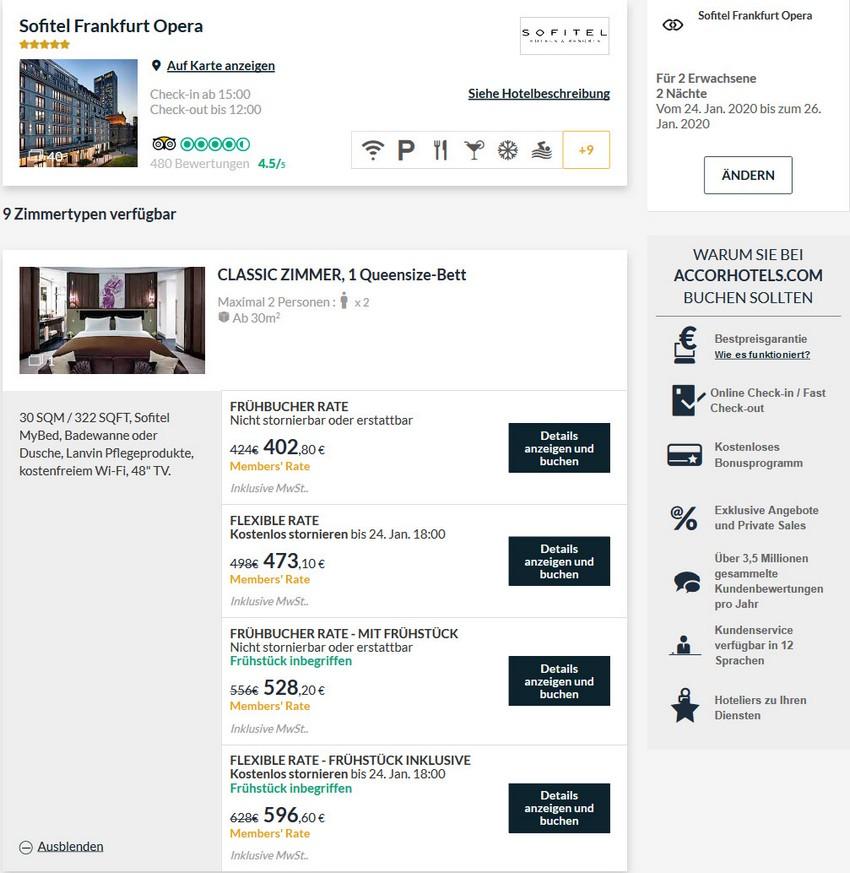 Reguläre Raten im Sofitel Frankfurt Alte Oper