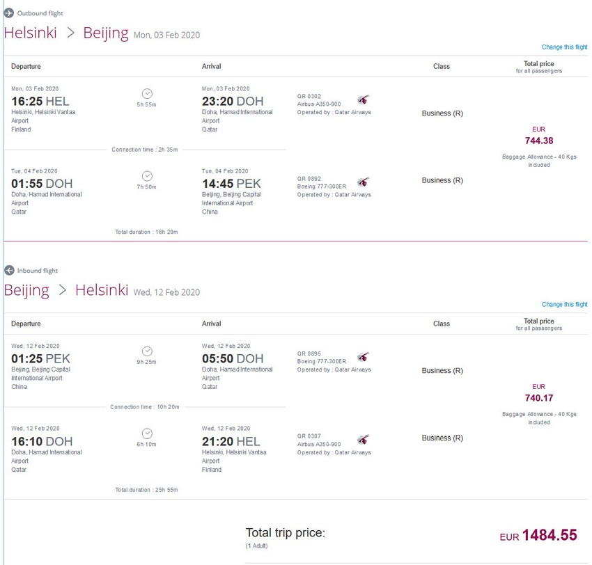 Preisbeispiel von Helsinki nach Peking in der Qatar Airways Business-Class