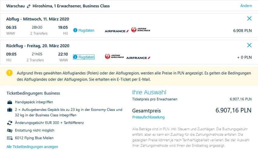 Preisbeispiel von Warschau nach Hiroshima in der Air France Business-Class