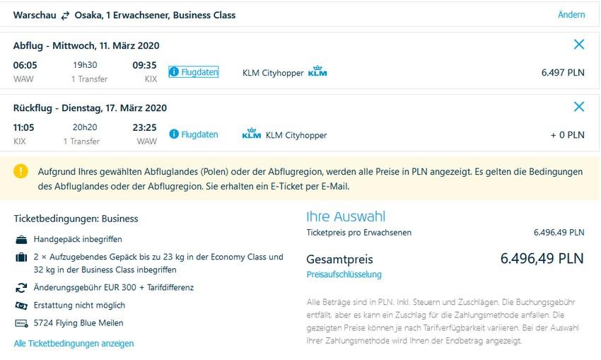 Preisbeispiel von Warschau nach Osak in der KLM Business-Class