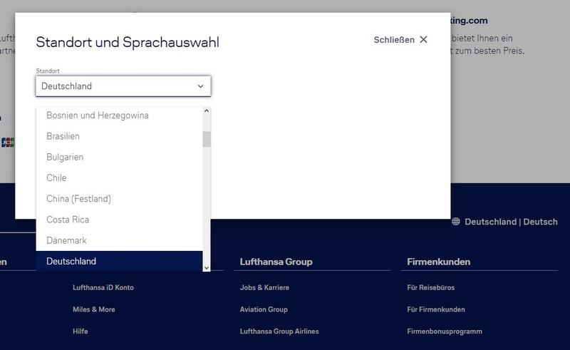 Einstellungen für Land und Sprache auf Lufthansa Homepage