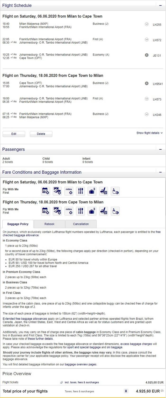Preisbeispiel für Partnertarif von Mailand nach Kapstadt in der Lufthansa First-Class