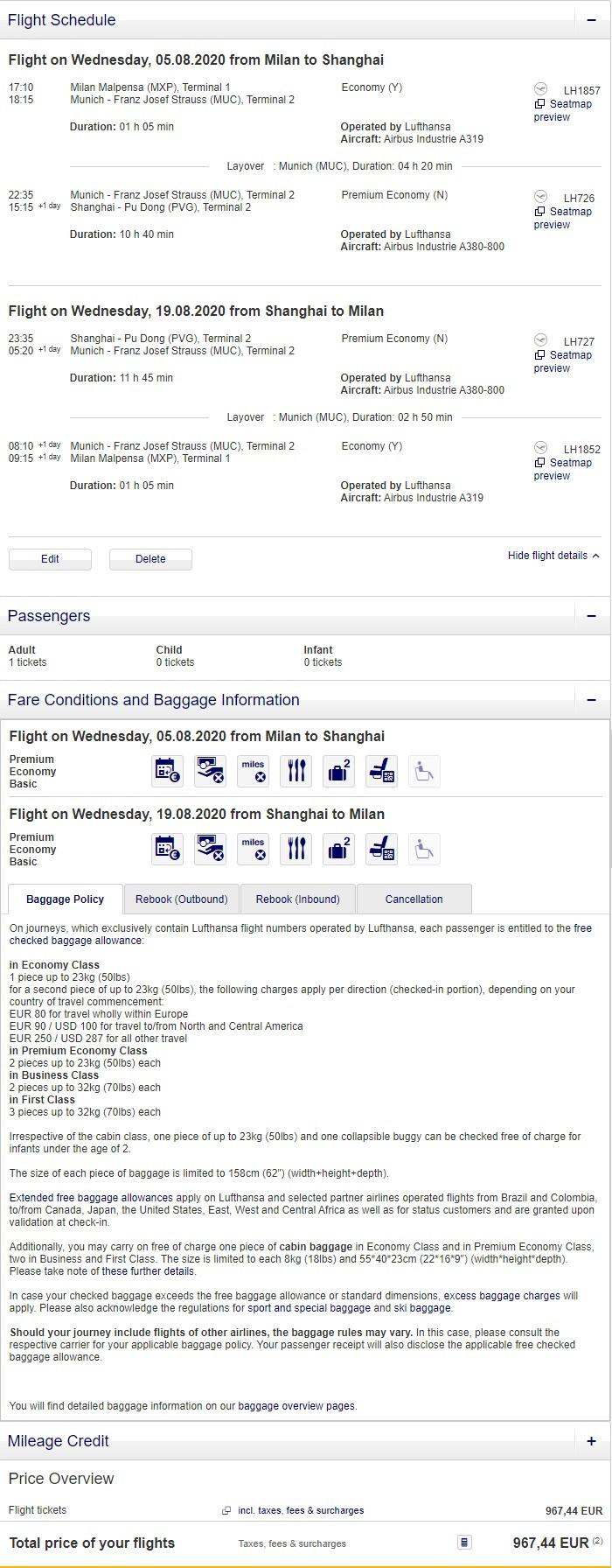 Preisbeispiel für Einzelperson von Mailand nach Shanghai in der Lufthansa Premium-Economy-Class