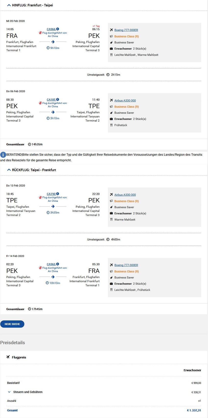 Preisbeispiel von Frankfurt nach Taipei in der Air China Business-Class