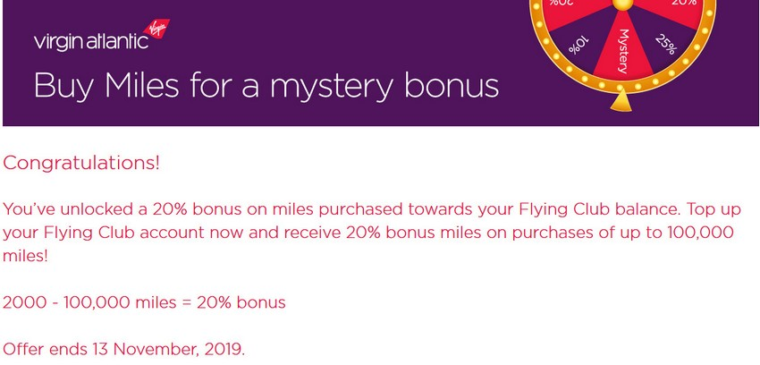 Virgin Atlantic Mystery Sale
