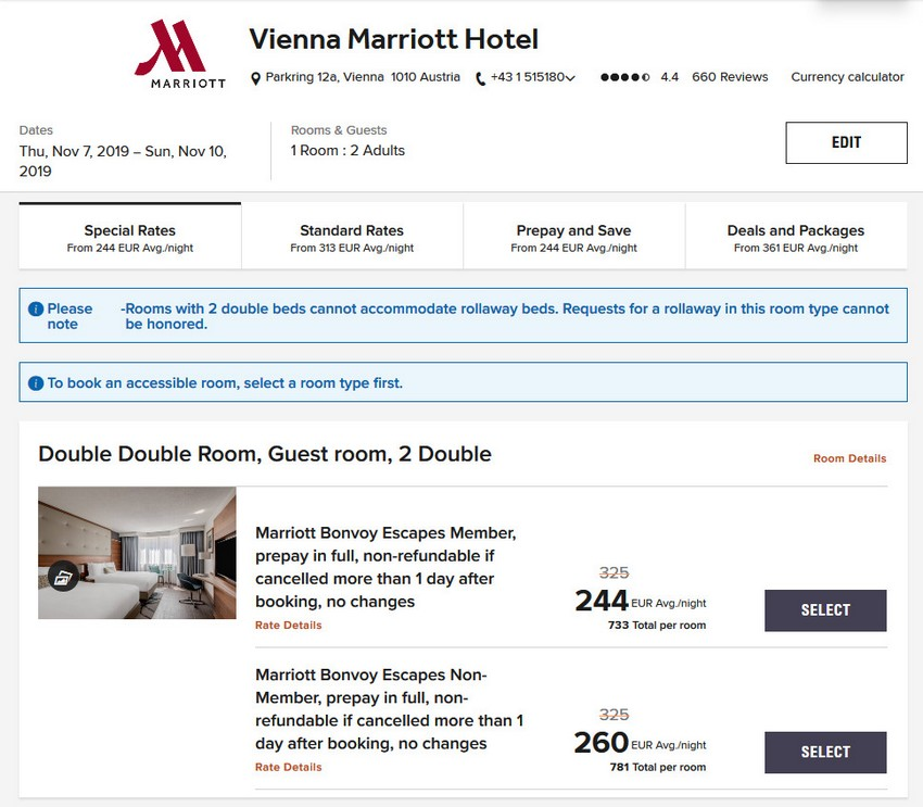 Vergleich Marriott Bonvoy Escapes Raten Wien Marriott