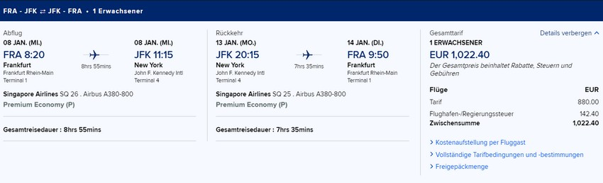 Preisbeispiel von Frankfurt nach New York JFK in der Singapore Airlines Premium-Economy-Class
