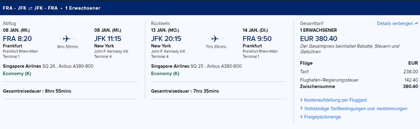 Preisbeispiel von Frankfurt nach New York JFK in der Singapore Airlines Economy-Class