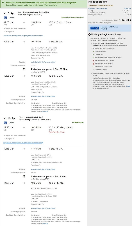 Preisbeispiel von Paris nach Los Angeles in der Lufthansa Business-Class auf Expedia