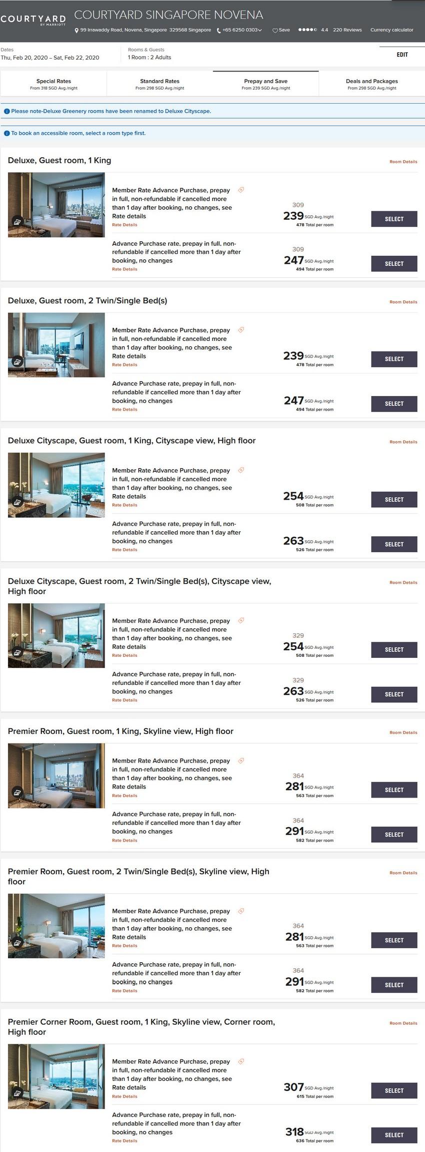 Vergleich Marriott Bonvoy Epic Stay Raten Courtyard Singapore Novena