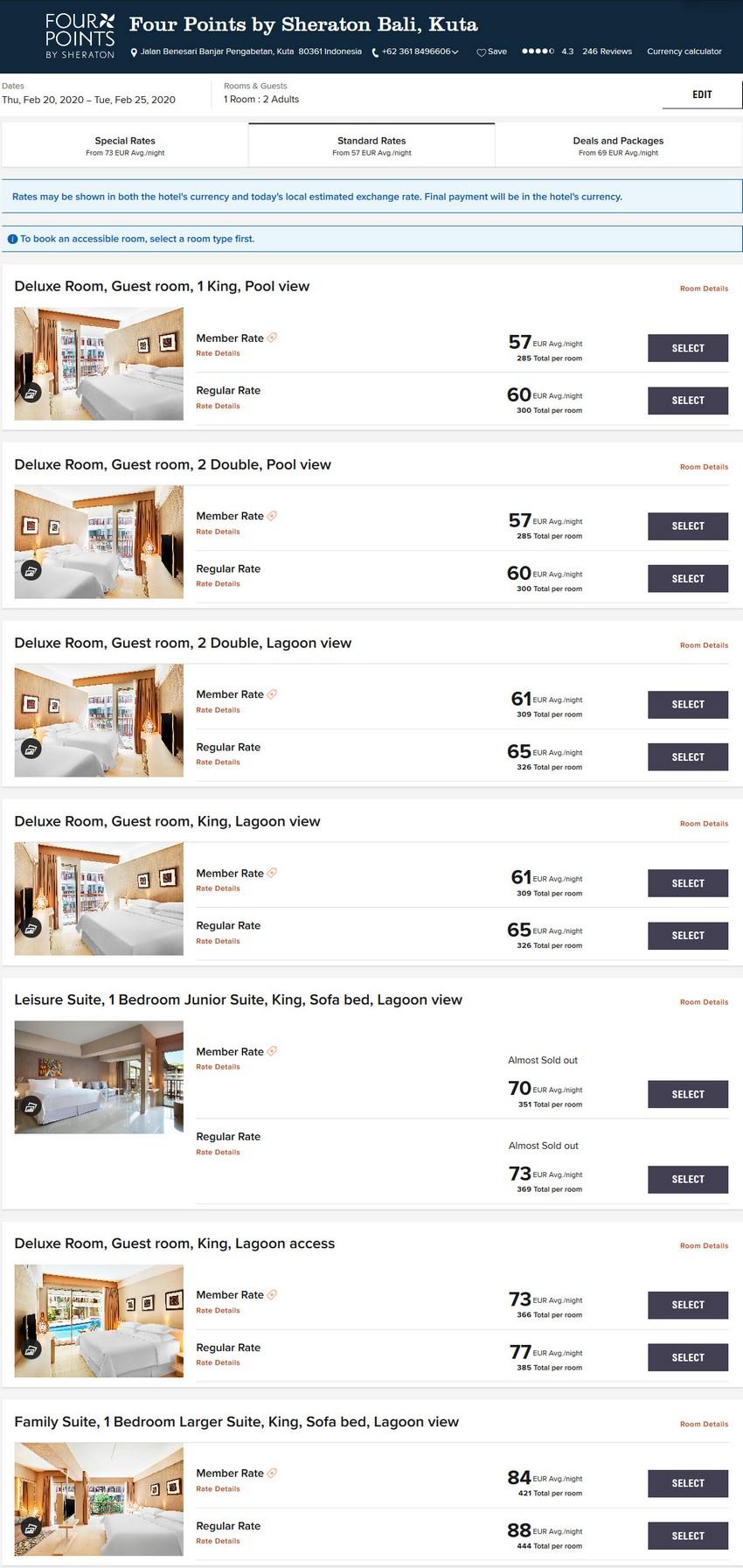 Vergleich Marriott Bonvoy Epic Stay Raten Four Points Bali