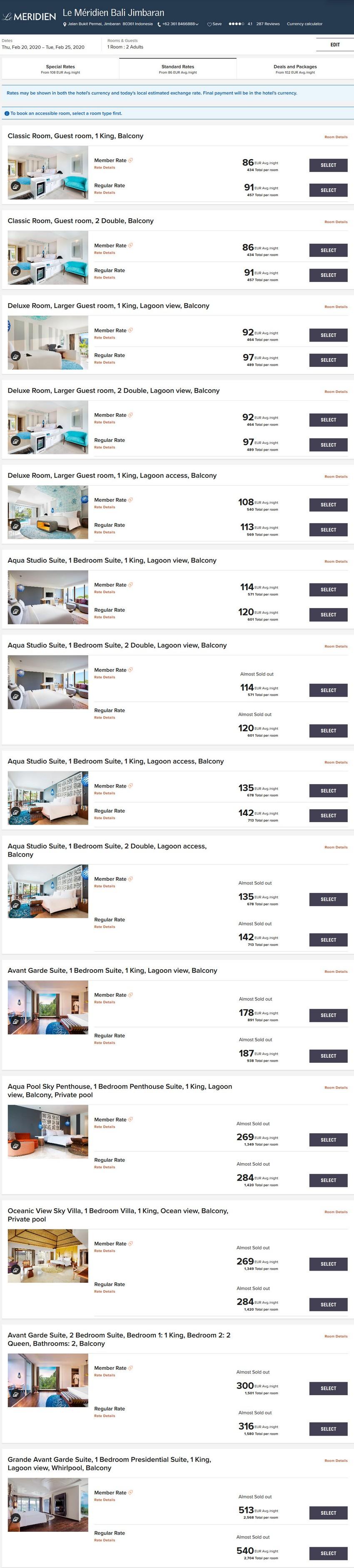 Vergleich Marriott Bonvoy Epic Stay Raten Le Meridien Jimbaran Bali