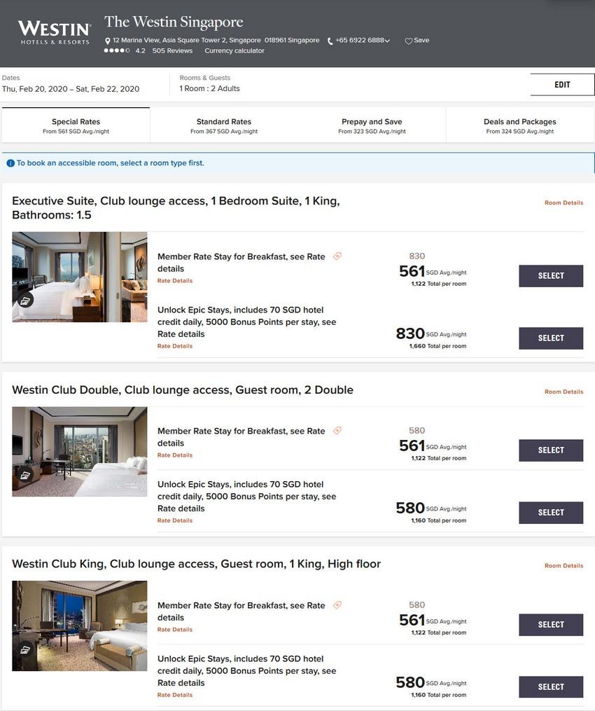 Vergleich Marriott Bonvoy Epic Stay Raten Westin Singapore