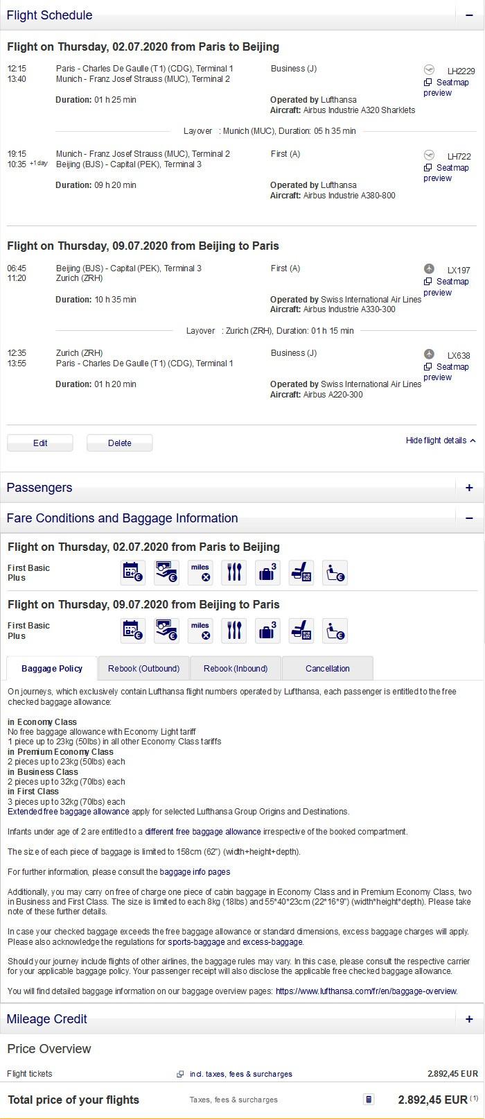 Preisbeispiel von Paris nach Peking in der Swiss und Lufthansa First-Class