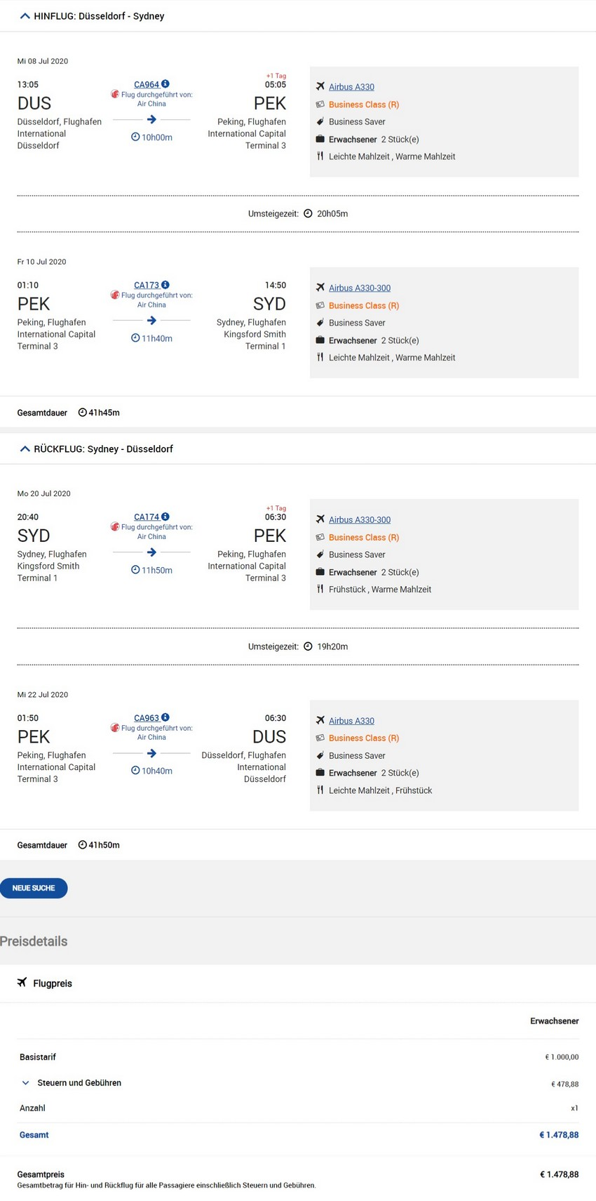 Preisbeispiel von Düsseldorf nach Sydney in der Air China Business-Class