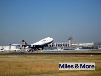Frankfurt und LH 747-8i mit Miles and More - Logo