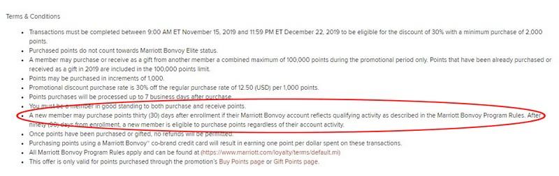 Bedingungen beim Kauf von Marriott Bonvoy Punkten bis 22.12.2019 mit 30% Ermäßigung
