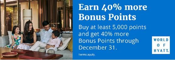 40% Bonus beim Kauf von World of Hyatt Punkten bis 31.12.2019