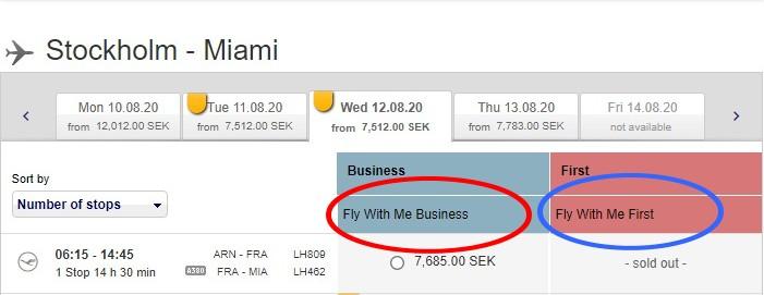 Buchungshinweise, für die Lufthansa und Swiss First-Class Partnertarife ab Schweden, die bis 02.12.2019 buchbar sind