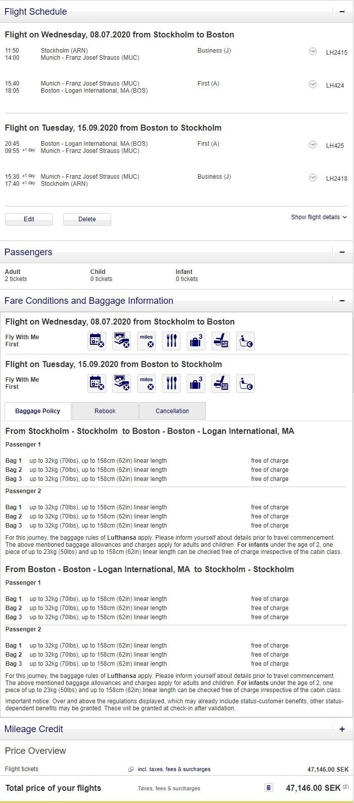 Preisbeispiel für Partnertarif von Stockholm nach Boston in der Lufthansa First-Class