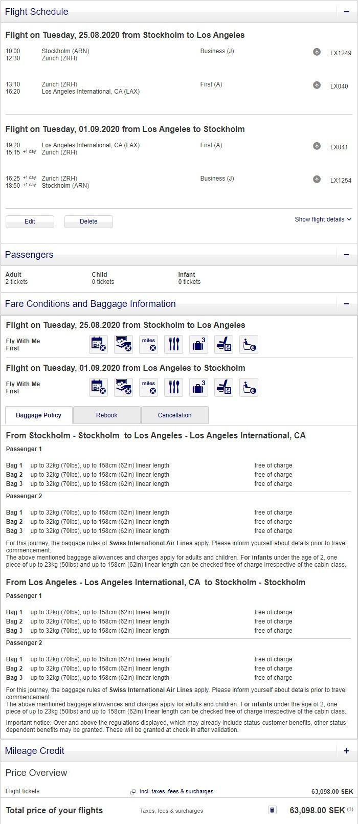 Preisbeispiel für Partnertarif von Stockholm nach Los Angeles in der Swiss First-Class