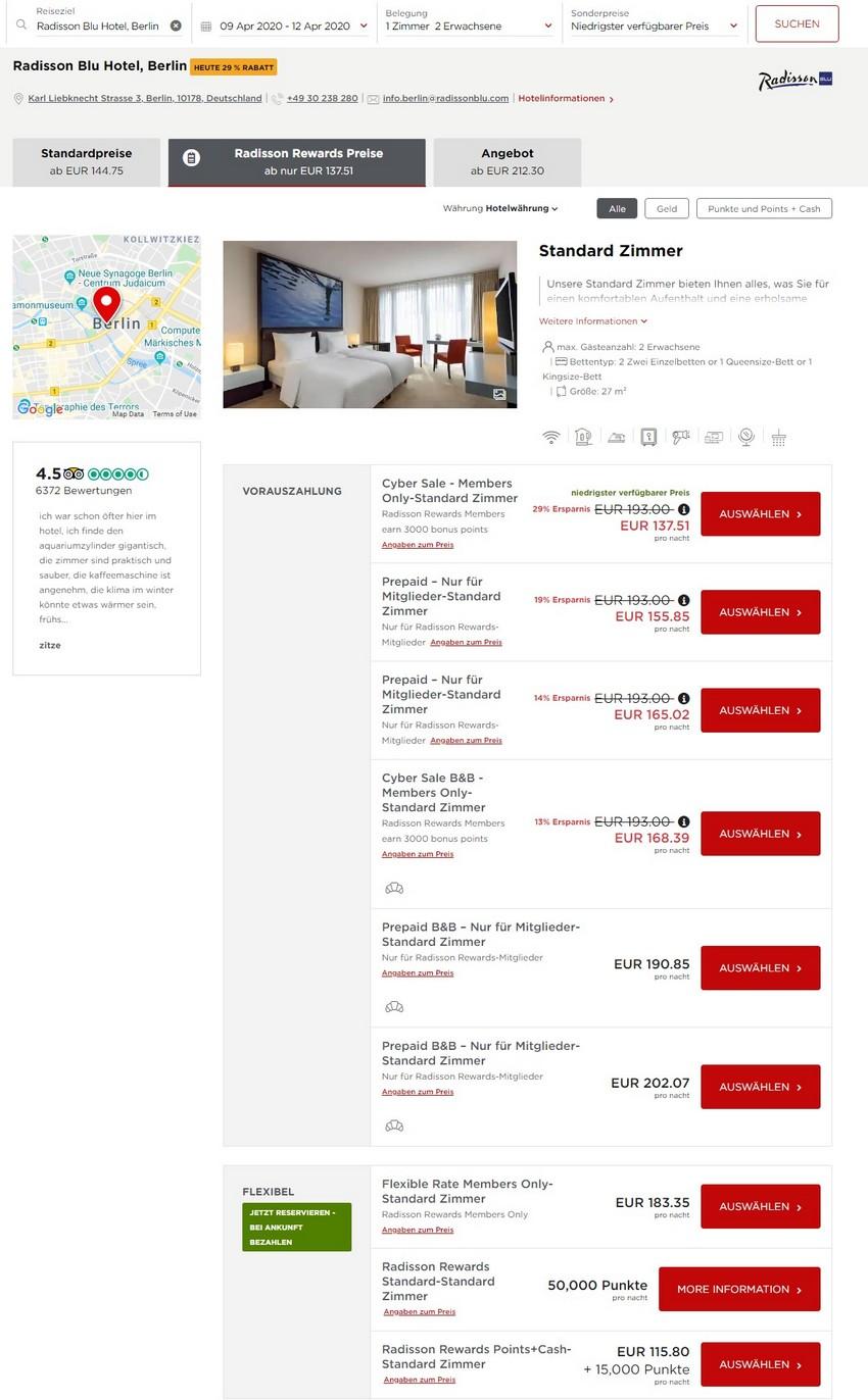 Radisson Cyber Sale Raten im Radisson Blu Hotel Berlin