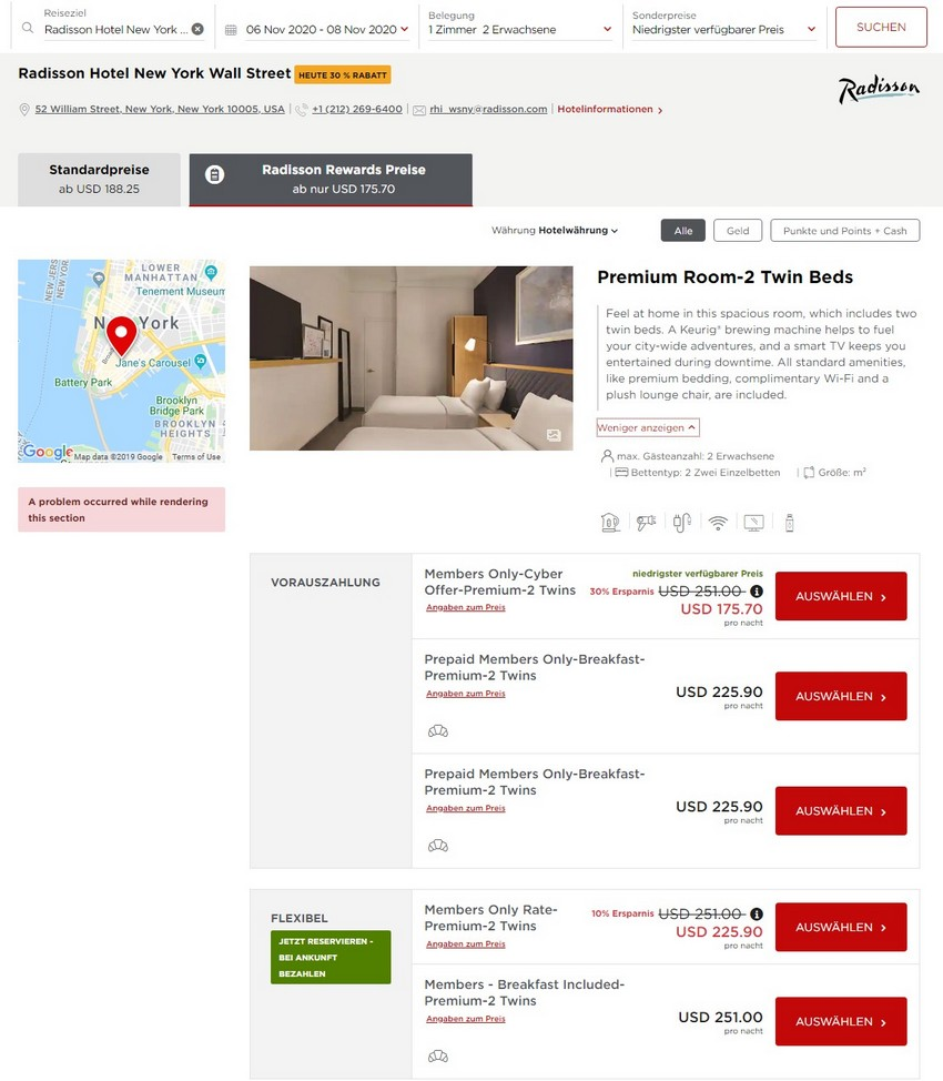 Radisson Cyber Sale Raten im Radisson Hotel New York Wall Stree