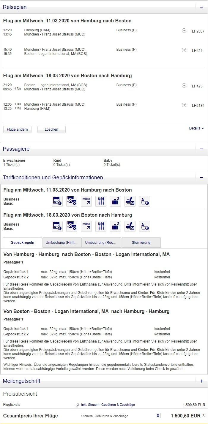Preisbeispiel von Hamburg nach Boston in der Lufthansa Business-Class