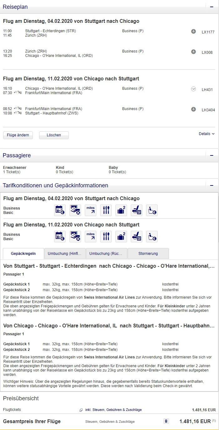 Preisbeispiel von Stuttgart nach Chicago in der Swiss Business-Class