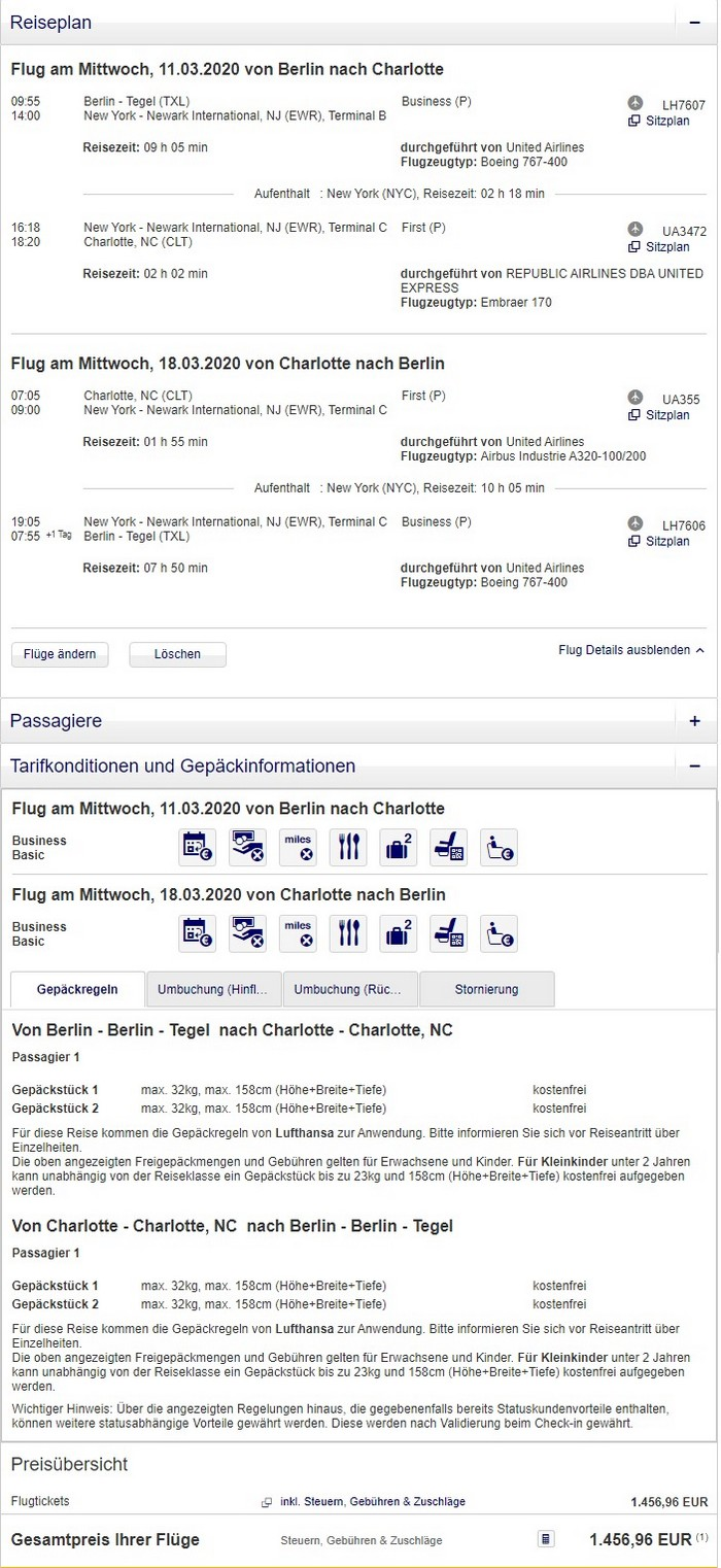 Preisbeispiel von Berlin nach Charlotte in der United Airlines Business-Class