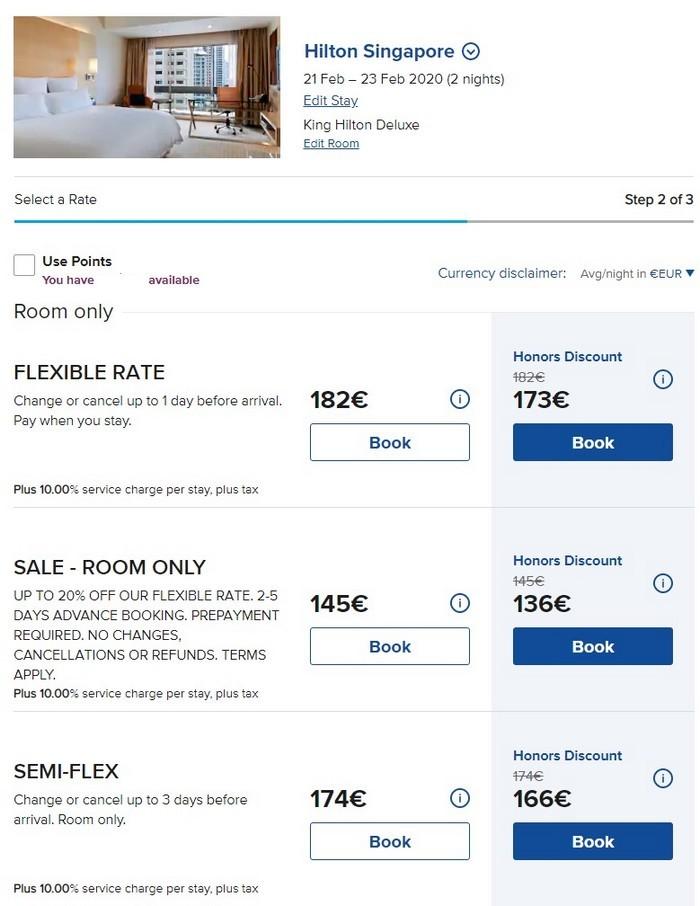 Vergleich der verfügbaren Raten im Hilton Singapore