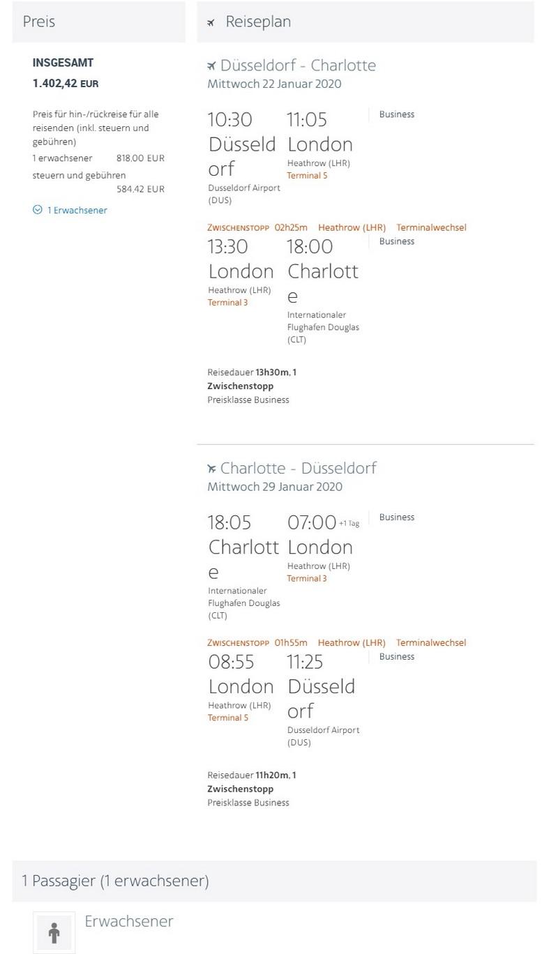 Preisbeispiel von Düsseldorf nach Charlotte in der American Airlines Business-Class