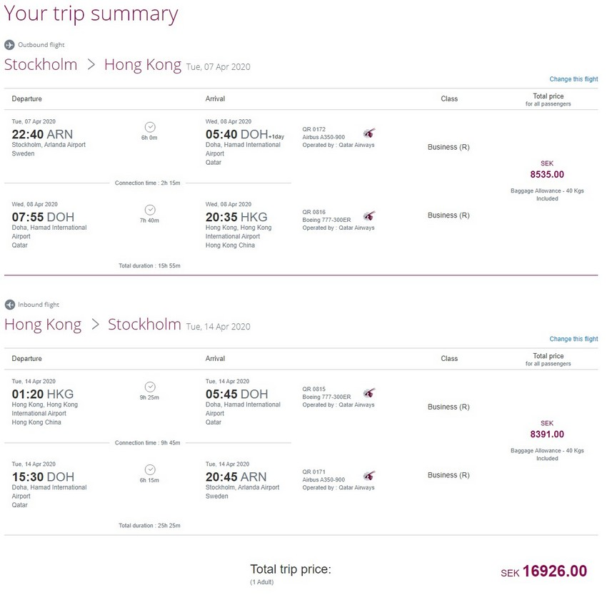 Preisbeispiel von Stockholm nach Hong Kong in der Qatar Airways Business-Class