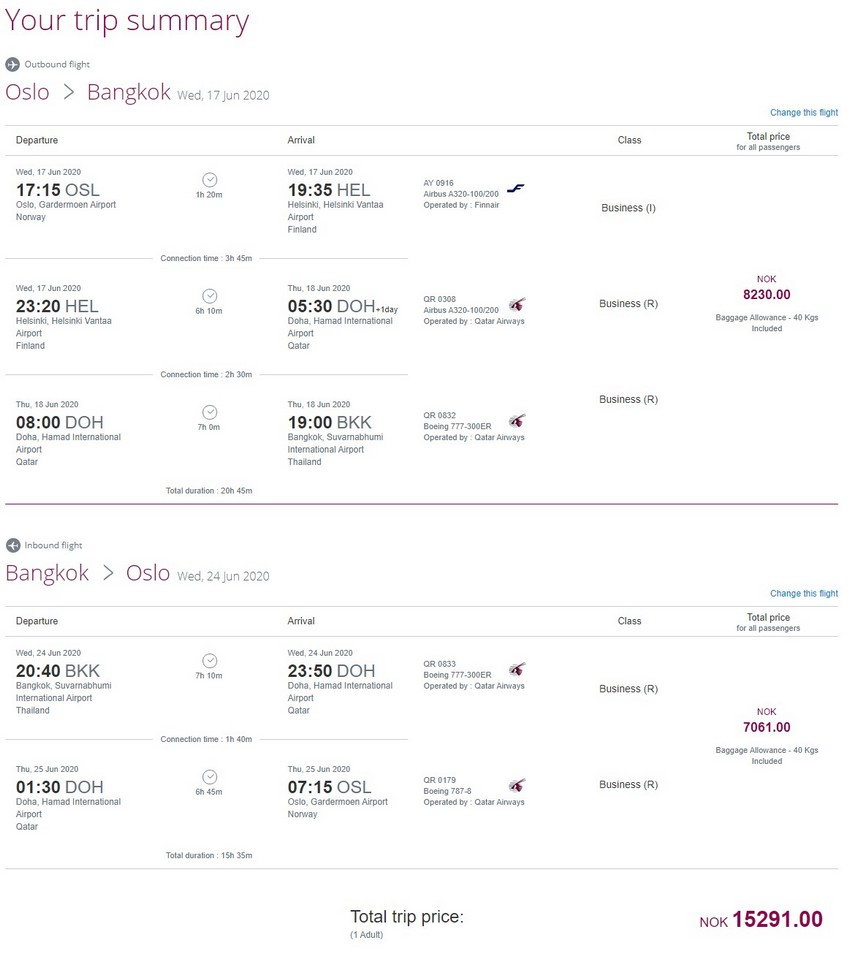 Preisbeispiel von Oslo nach Bangkok in der Qatar Airways Business-Class