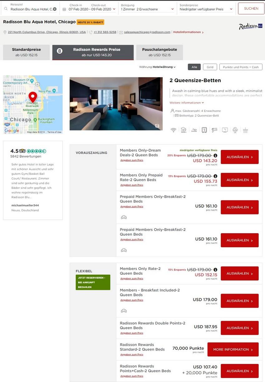Radisson Dream Deals Raten im Radisson Blu Aqua Hotel Chicago
