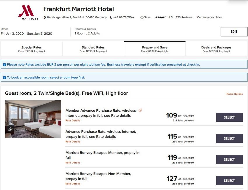 Vergleich Marriott Bonvoy Escapes Raten Marriott Frankfurt
