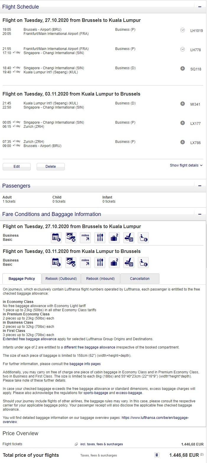 Preisbeispiel von Brüssel nach Kuala Lumpur in der Lufthansa Business-Class