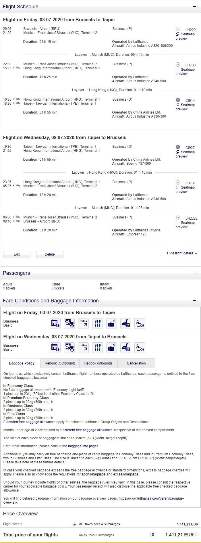 Preisbeispiel von Brüssel nach Taipei in der Lufthansa Business-Class