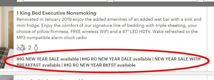 Anzeige der IHG New Year Sale 2020 Raten Verfügbarkeit