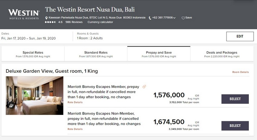 Vergleich Marriott Bonvoy Escapes Raten Westin Resort Nusa Dua