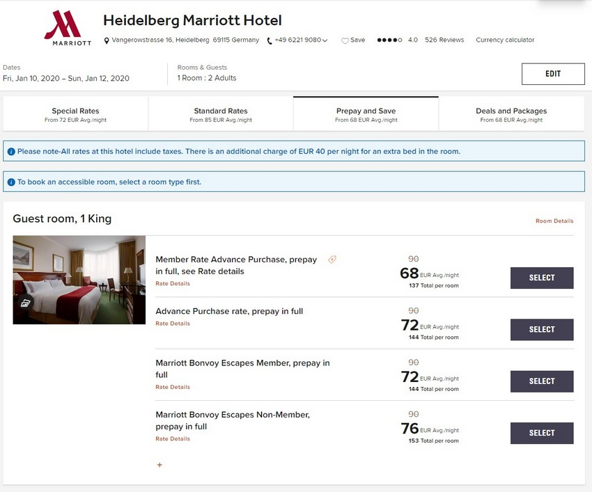 Vergleich Marriott Bonvoy Escapes Raten Marriott Heidelberg