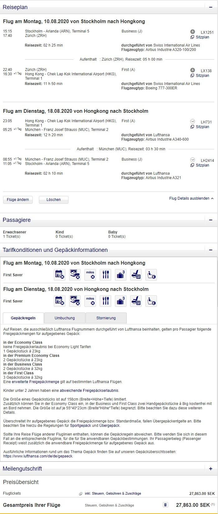 Preisbeispiel von Stockholm nach Hong Kong in der Lufthansa und Swiss Business-Class