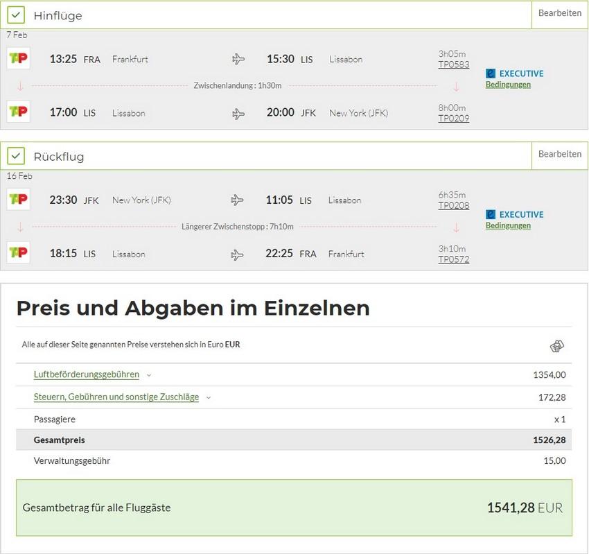 Preisbeispiel von Frankfurt nach New York in der TAP Air Portugal Business-Class